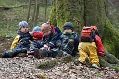 Kinder und Baumwurzeln